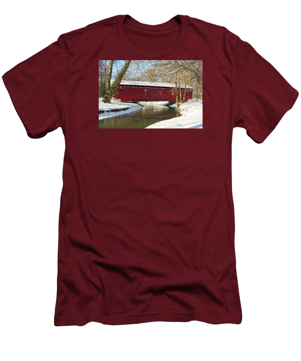 Covered Bridge Men's T-Shirt (Athletic Fit) featuring the photograph Winter Bridge by Margie Wildblood