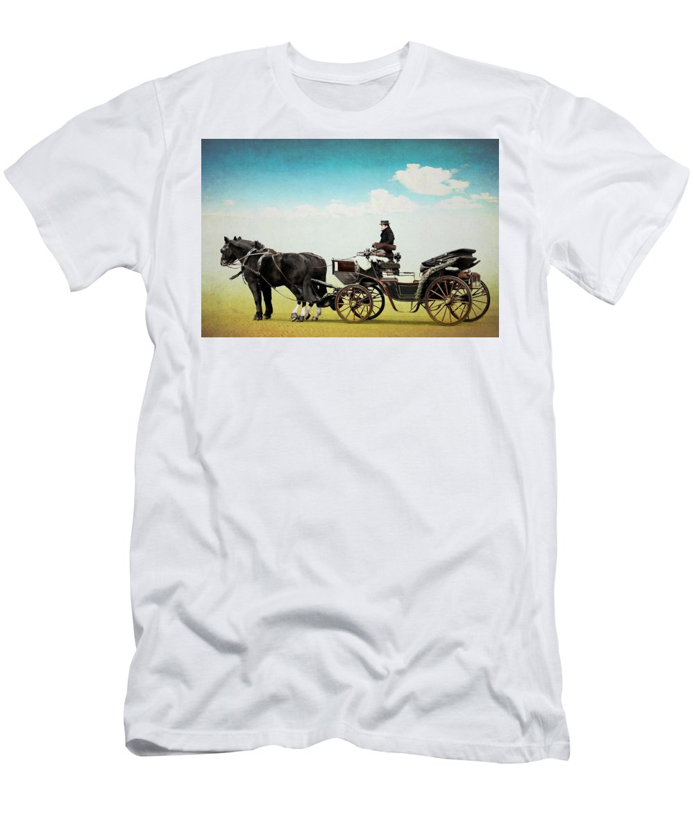 Horse Men's T-Shirt (Athletic Fit) featuring the mixed media Journey Into The Past by Heike Hultsch