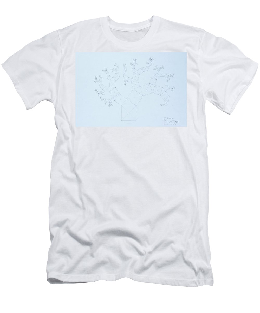 Fractal Tree Men's T-Shirt (Athletic Fit) featuring the drawing Quantum Tree by Jason Padgett