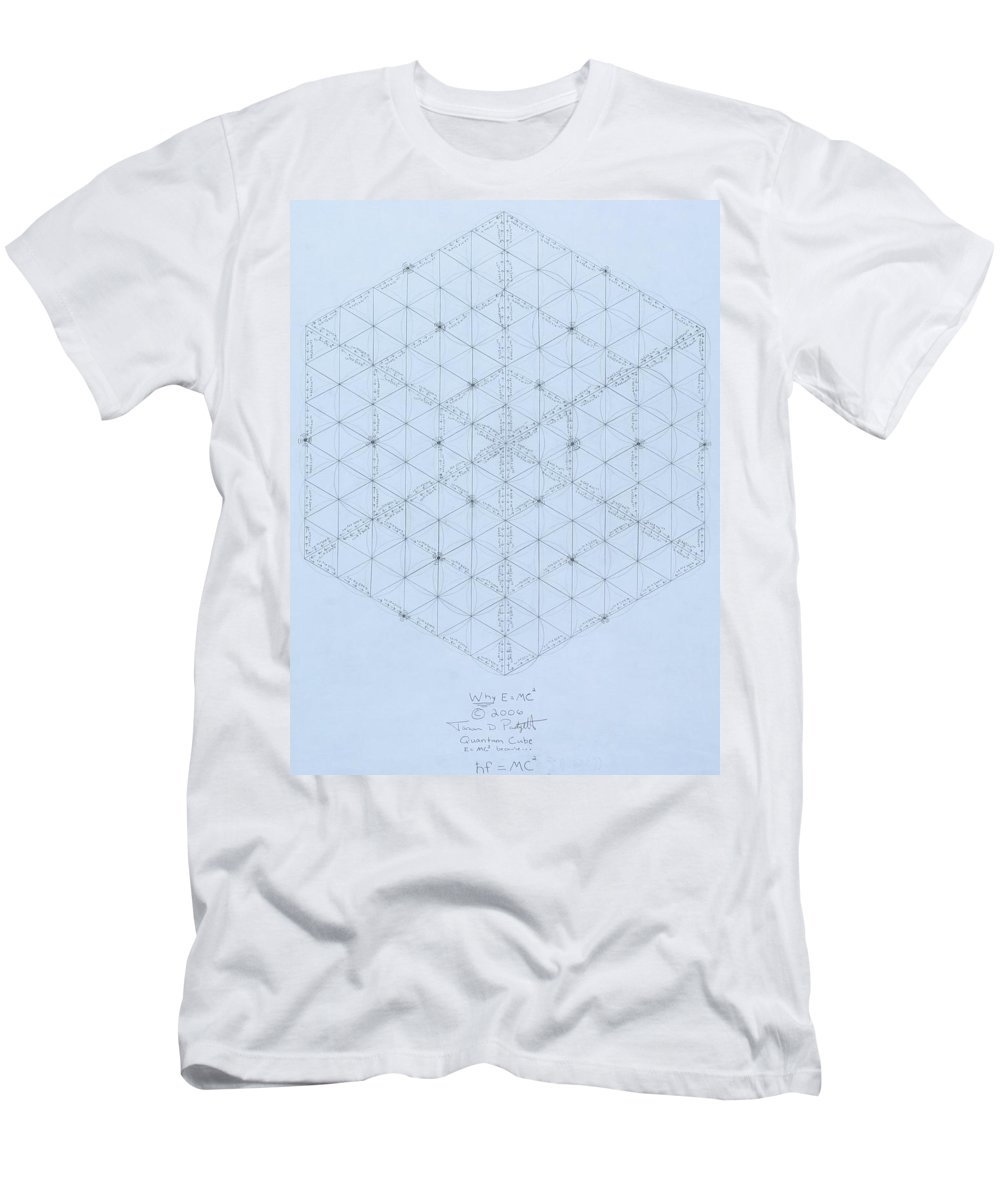 Energy Men's T-Shirt (Athletic Fit) featuring the drawing Why Energy Equals Mass Times The Speed Of Light Squared by Jason Padgett