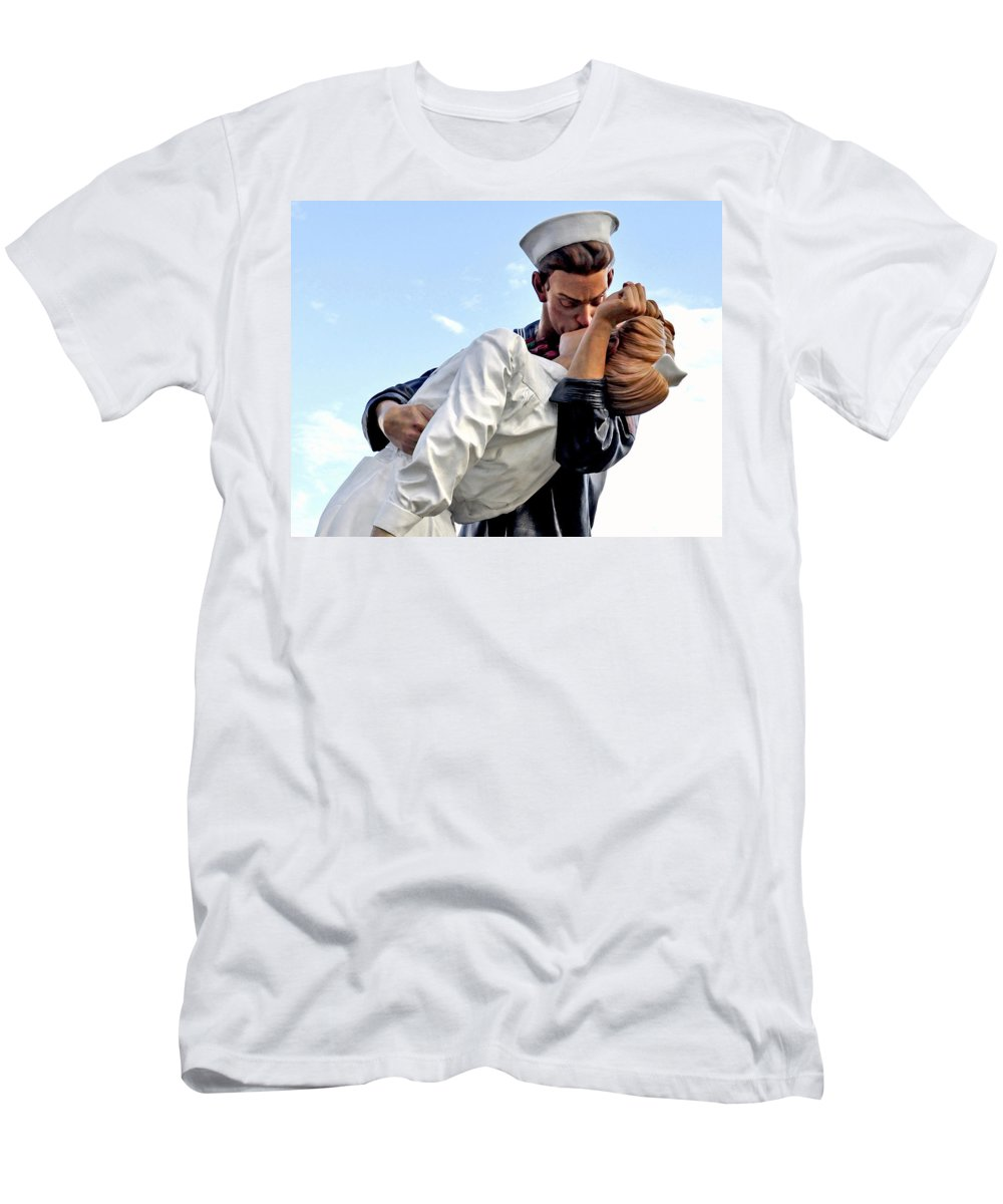 Horizontal Men's T-Shirt (Athletic Fit) featuring the photograph Closeup Nurse And Sailor Kissing Statue Unconditional Surrender by Sally Rockefeller