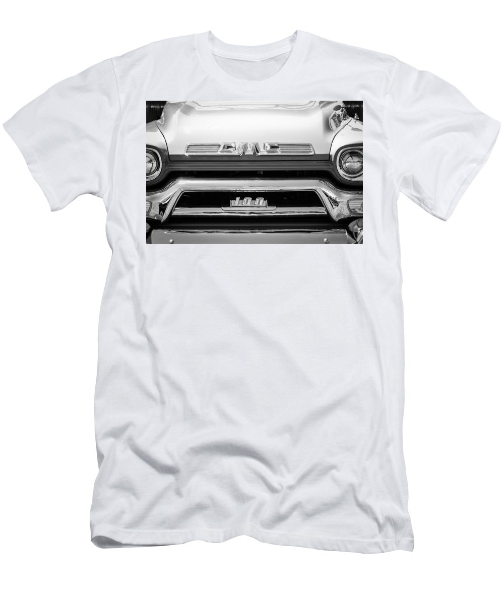 1958 Gmc Series 101-s Pickup Truck Grille Emblem Men's T-Shirt (Athletic Fit) featuring the photograph 1958 Gmc Series 101-s Pickup Truck Grille Emblem by Jill Reger