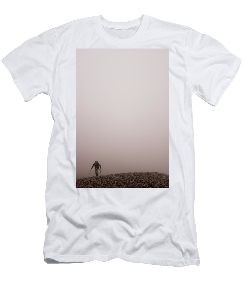 Adult Men's T-Shirt (Athletic Fit) featuring the photograph A Lone Hiker Climbs Through The Fog by Dan Shugar