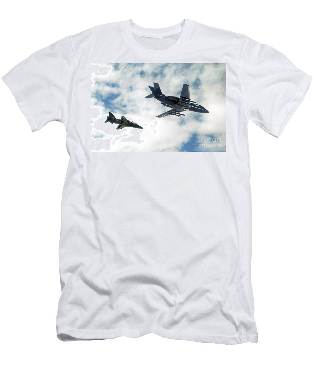 Jet Men's T-Shirt (Athletic Fit) featuring the photograph A Royal Air Force Hawk by Paul Fearn