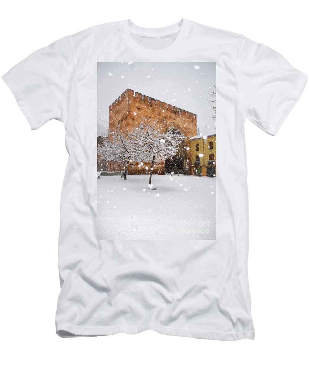 Arc Men's T-Shirt (Athletic Fit) featuring the photograph Arc Of Elvira While A Snowstorm by Guido Montanes Castillo