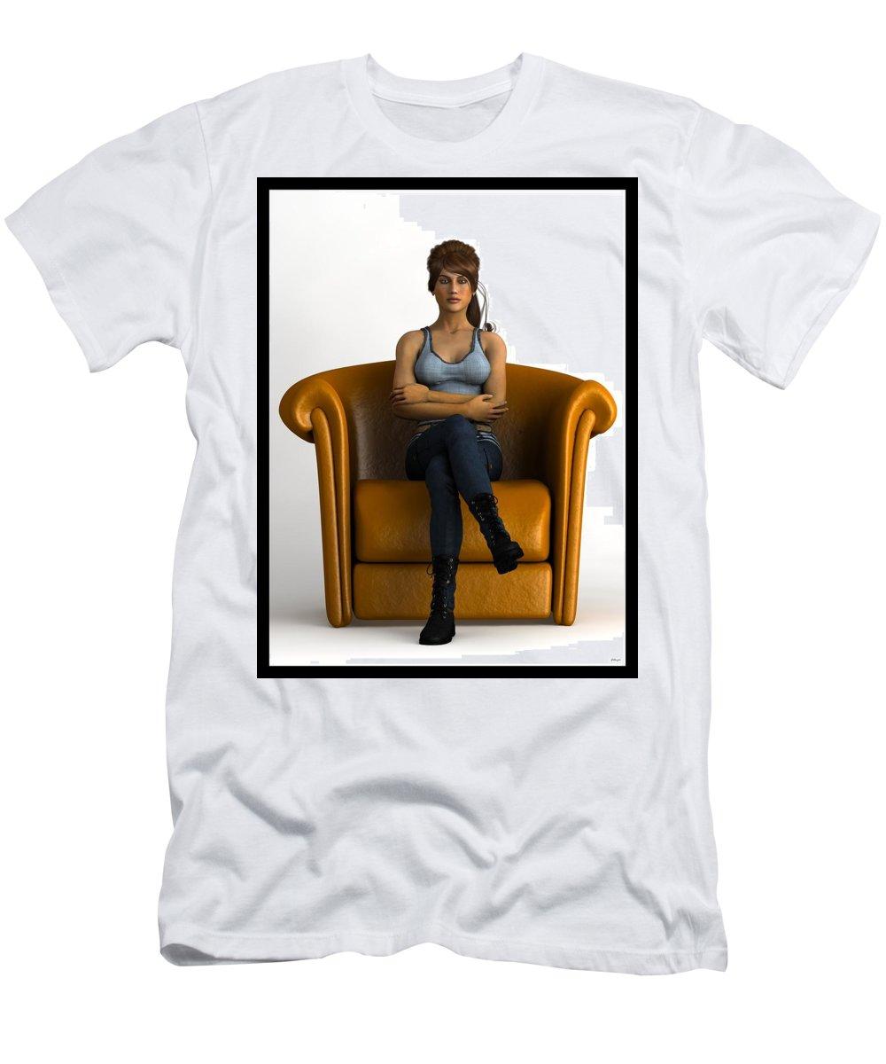 Portrait Men's T-Shirt (Athletic Fit) featuring the digital art Awaiting... by Tim Fillingim