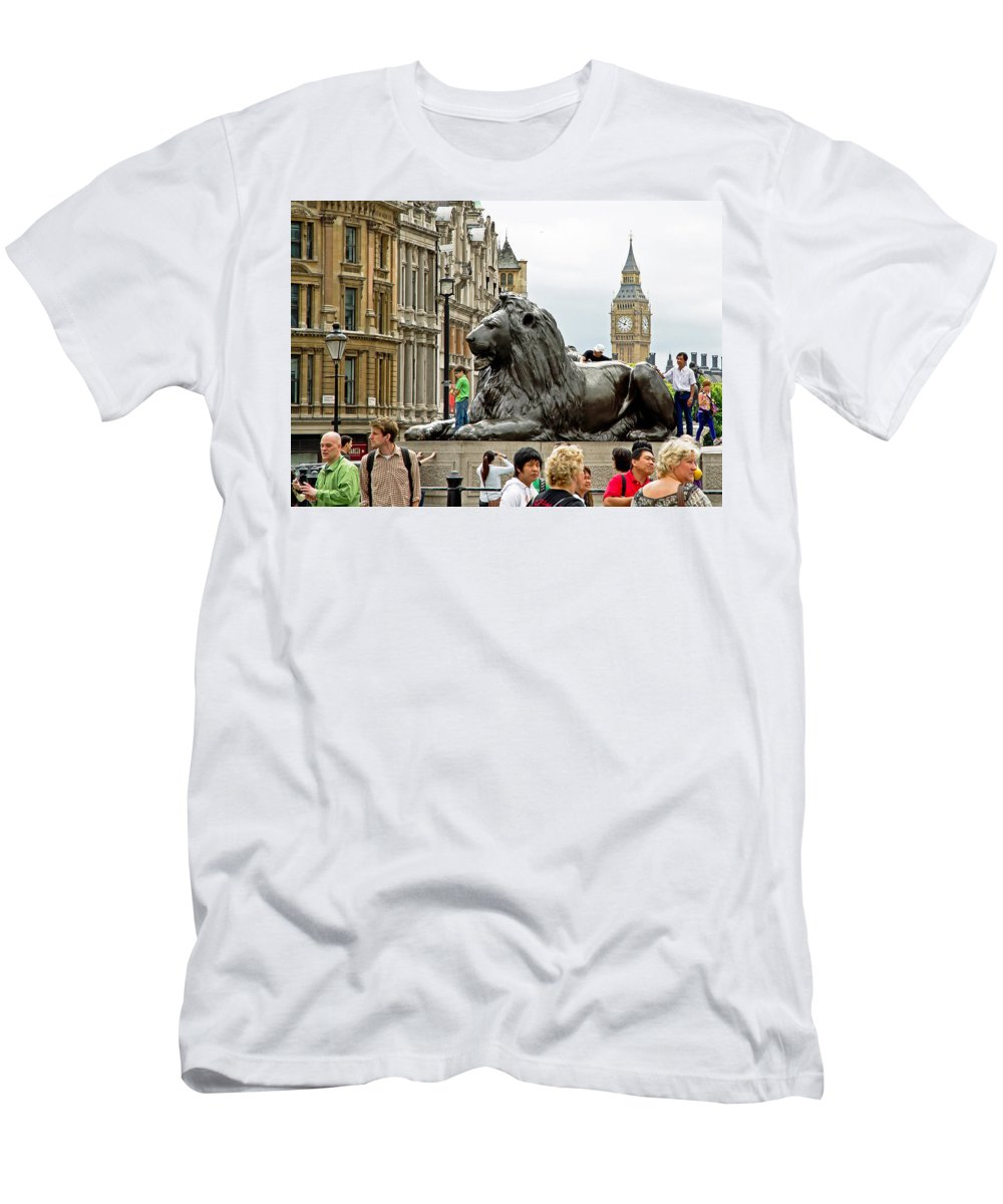 London Men's T-Shirt (Athletic Fit) featuring the photograph Big Lion Little Ben by Keith Armstrong