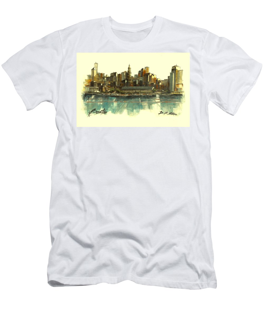 Fineartamerica.com Men's T-Shirt (Athletic Fit) featuring the painting Boston Skyline by Diane Strain