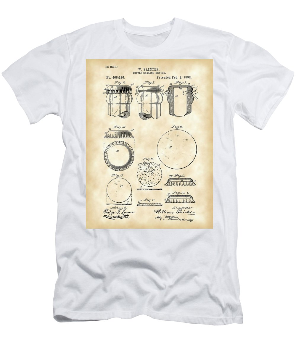 Bottle Men's T-Shirt (Athletic Fit) featuring the digital art Bottle Cap Patent 1892 - Vintage by Stephen Younts