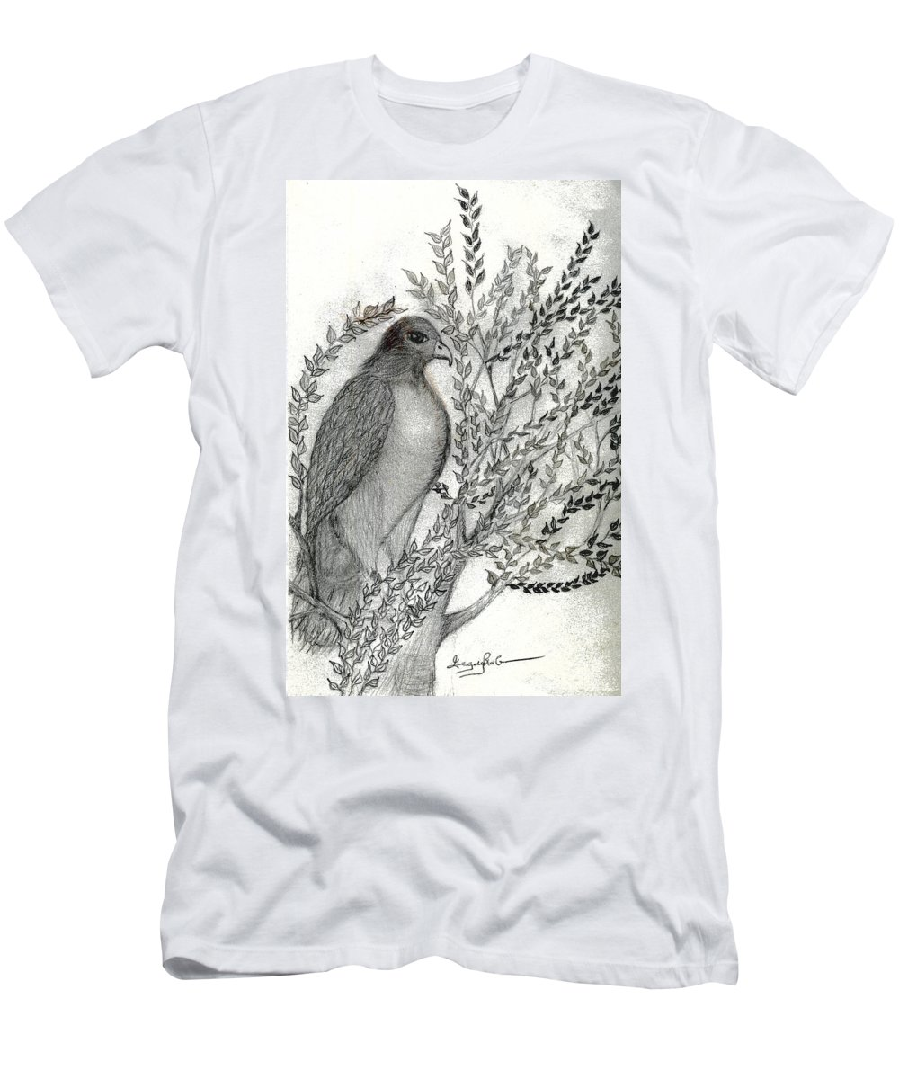 Hawk Men's T-Shirt (Athletic Fit) featuring the drawing Brother Hawk by Greg Roberson