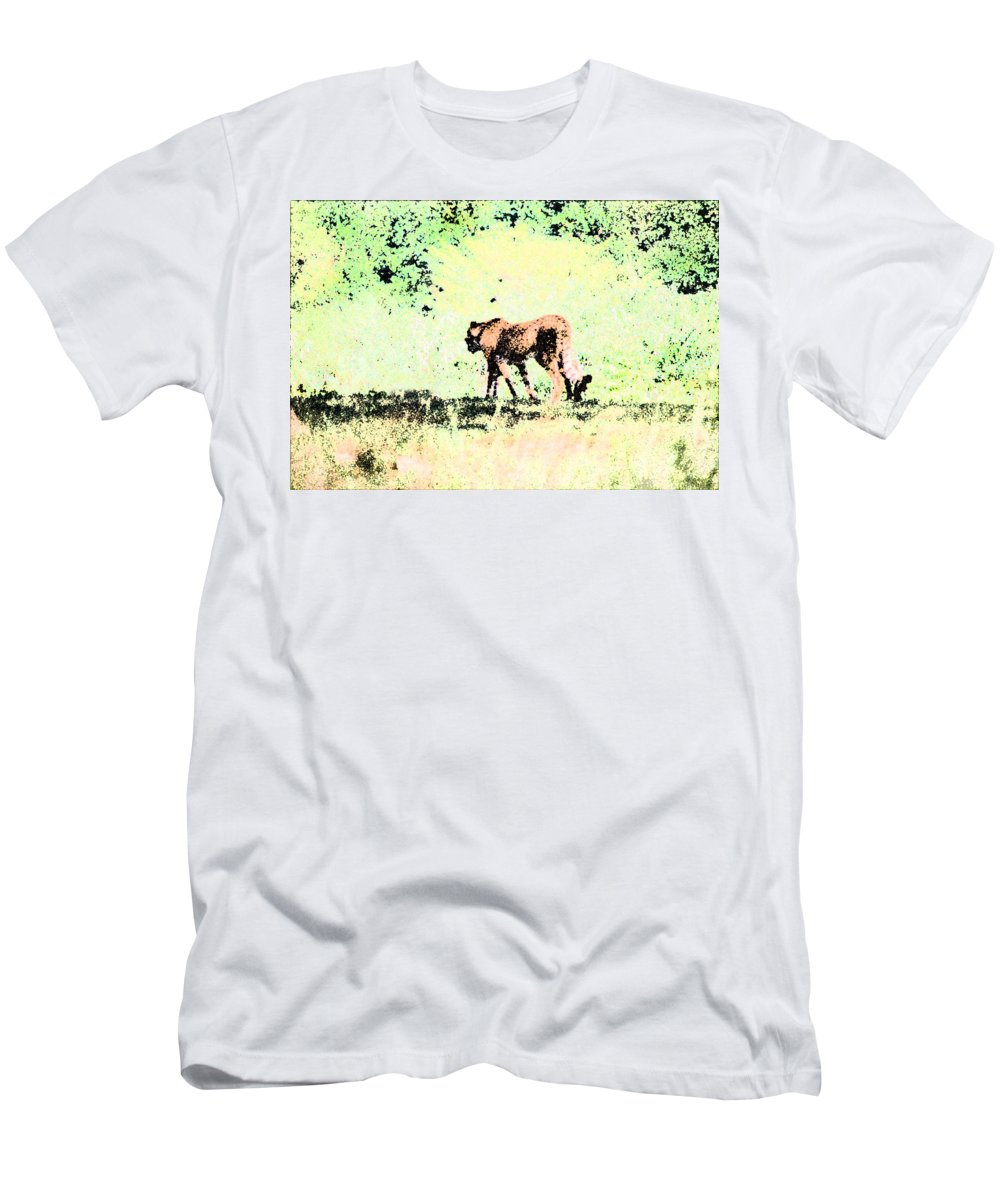 Cheetah Men's T-Shirt (Athletic Fit) featuring the digital art Cheetah by Steve Karol