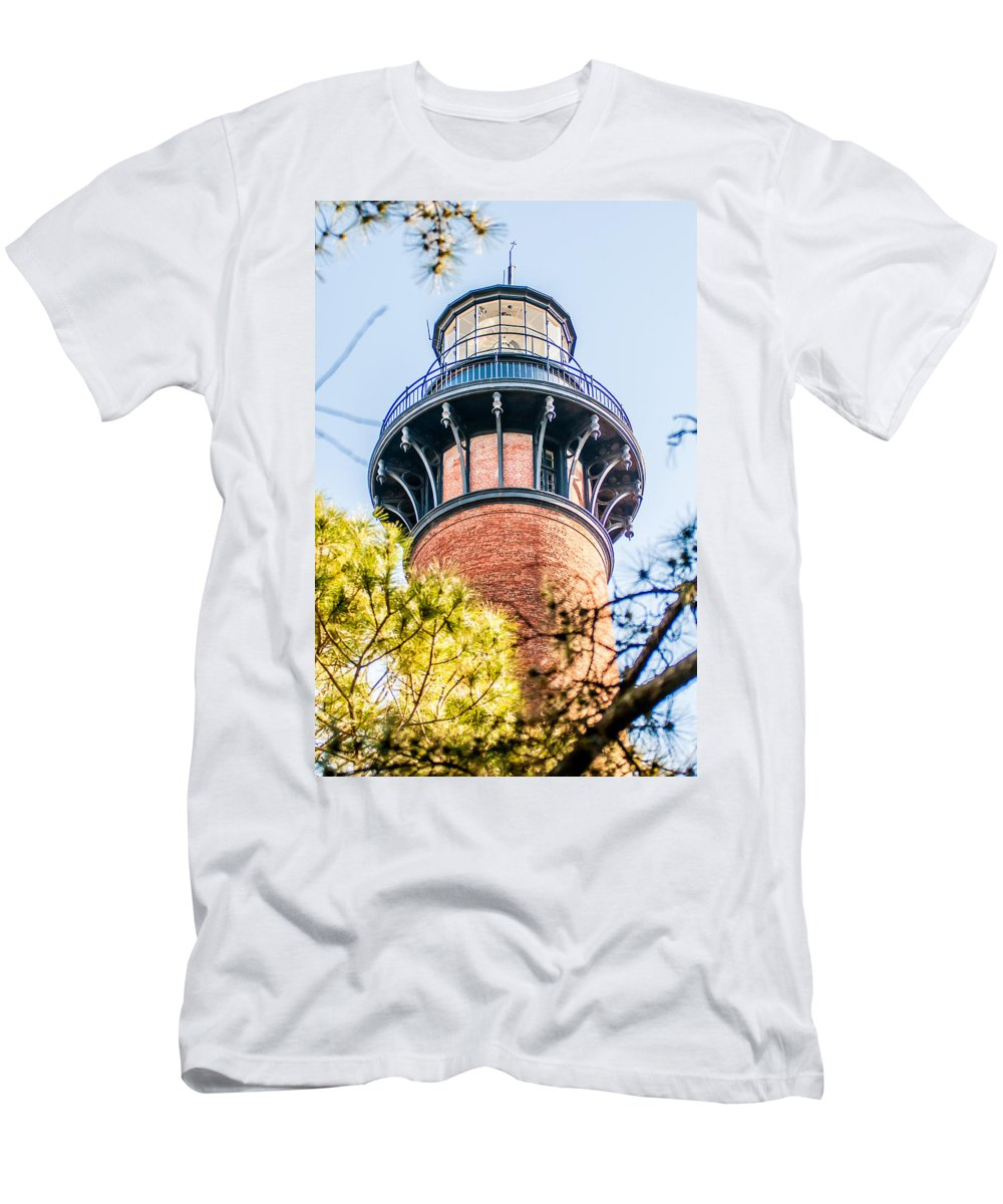 Meadow Men's T-Shirt (Athletic Fit) featuring the photograph Currituck Beach Lighthouse On The Outer Banks Of North Carolina by Alex Grichenko