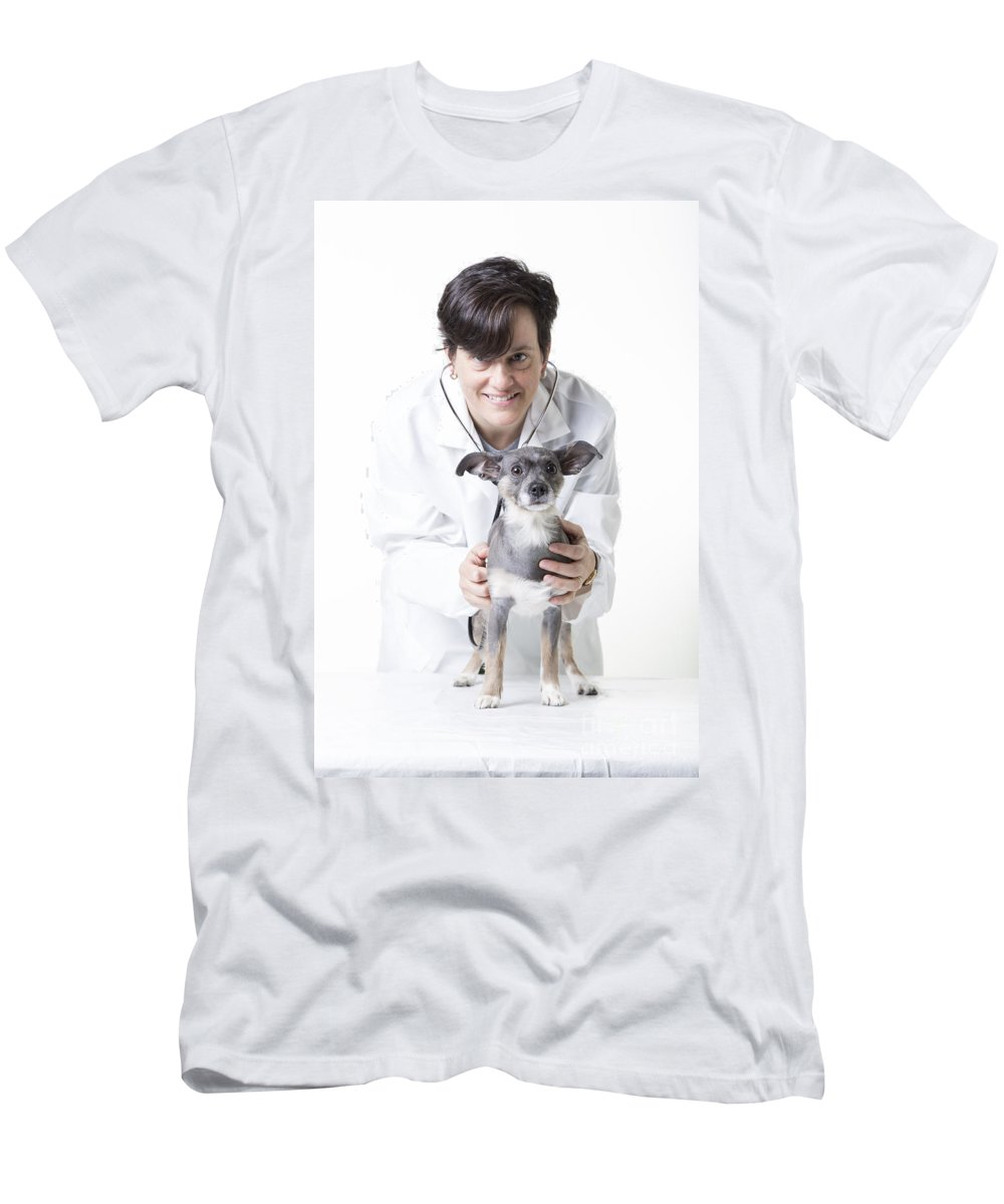 Dog Men's T-Shirt (Athletic Fit) featuring the photograph Cute Little Dog At The Vet by Edward Fielding