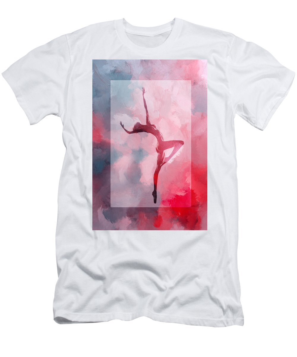 Dance Dancer Dancing Cloud Ballet Ballerina Sexy Erotic Nude Naked Clor Colorful Heaven Sky Clouds Red Expressionism Impressionism Men's T-Shirt (Athletic Fit) featuring the painting Dancing In The Clouds by Steve K