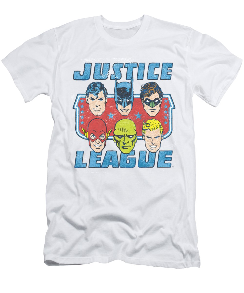 Justice League T-Shirt featuring the digital art Dc - Faces Of Justice by Brand A