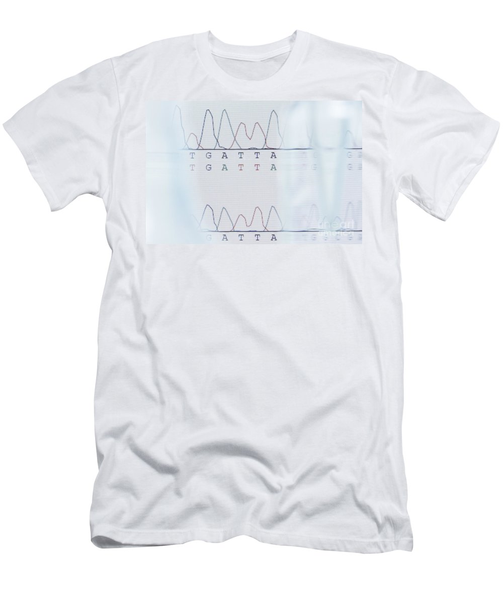 Dna Men's T-Shirt (Athletic Fit) featuring the photograph Dna Sequencing by GIPhotoStock