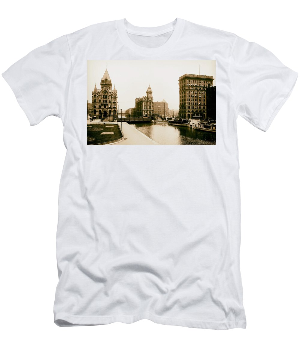 Erie Canal Men's T-Shirt (Athletic Fit) featuring the photograph Erie Canal On Salina Street In Syracuse New York - Circa 1904 by Mountain Dreams