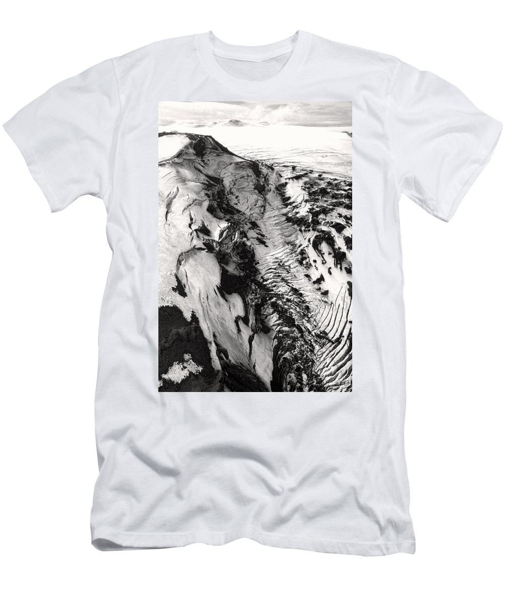 Iceland Men's T-Shirt (Athletic Fit) featuring the photograph Eyjafjallajokull And The Glacier by For Ninety One Days