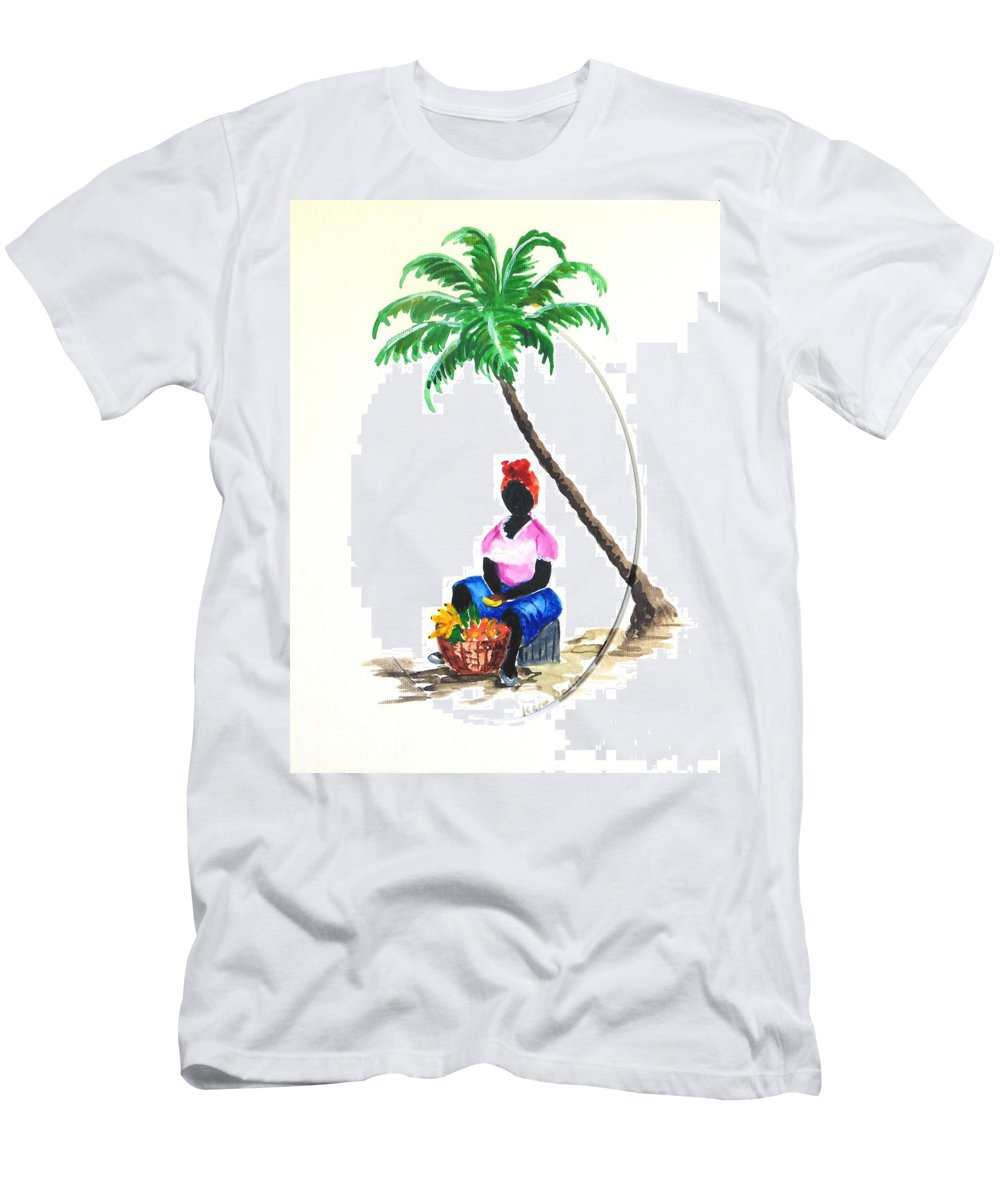 Fruit Seller T-Shirt featuring the painting Fruit Seller by Karin Dawn Kelshall- Best