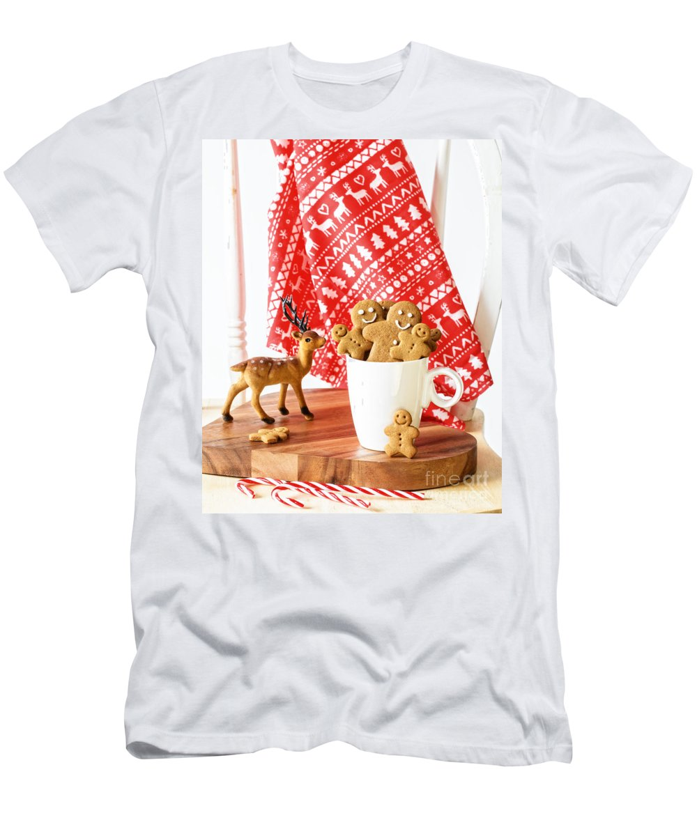 Ginger Men's T-Shirt (Athletic Fit) featuring the photograph Gingerbread At Christmas by Amanda Elwell
