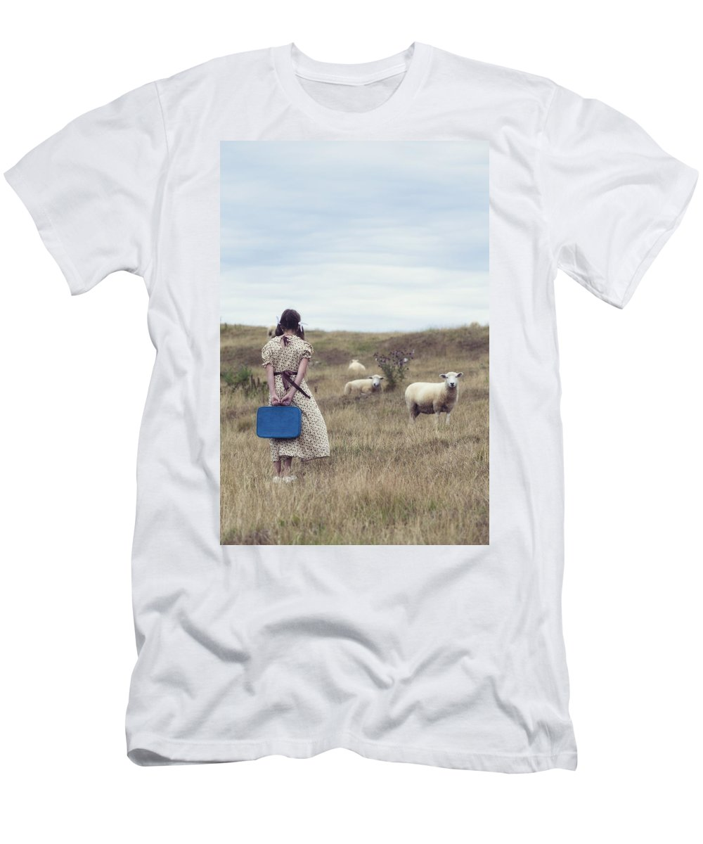 Girl Men's T-Shirt (Athletic Fit) featuring the photograph Girl With Sheeps by Joana Kruse