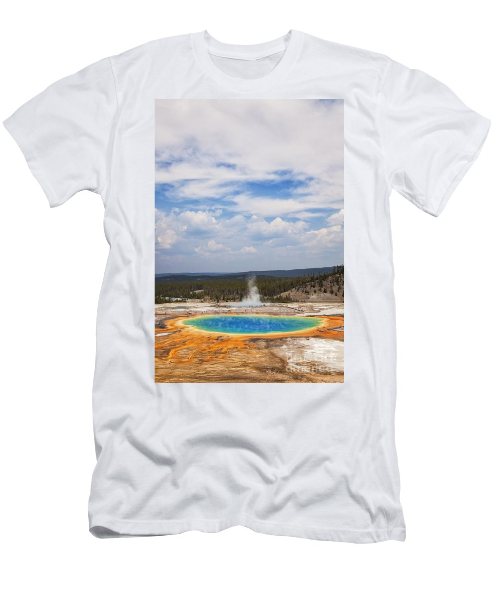 Grand Prismatic Spring Men's T-Shirt (Athletic Fit) featuring the photograph Grand Prismatic Spring by Bryan Mullennix