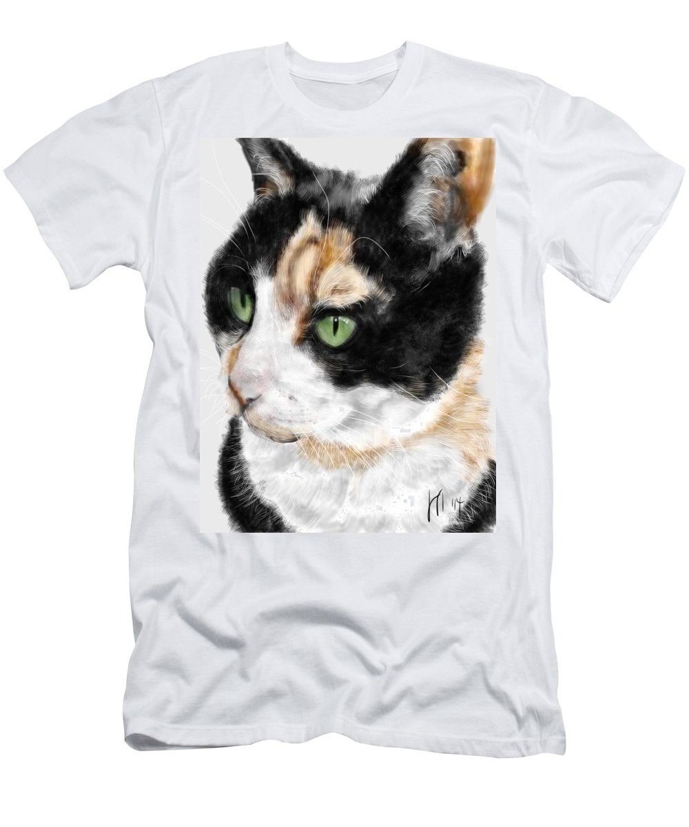 Cat Men's T-Shirt (Athletic Fit) featuring the painting Green Eyed Cat by Lois Ivancin Tavaf