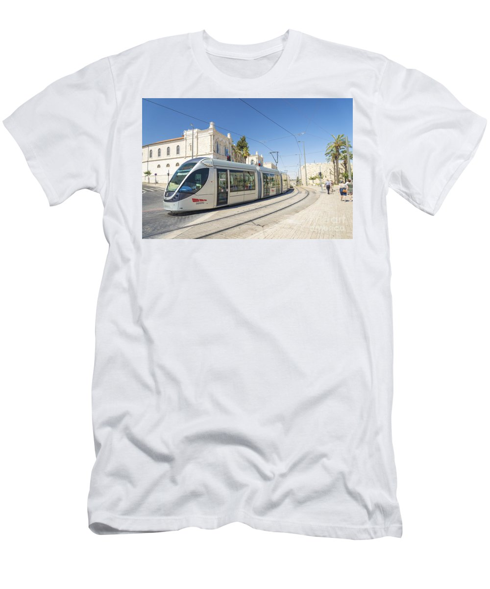 Ancient Men's T-Shirt (Athletic Fit) featuring the photograph Modern Tram In Central Jerusalem Israel by Jacek Malipan