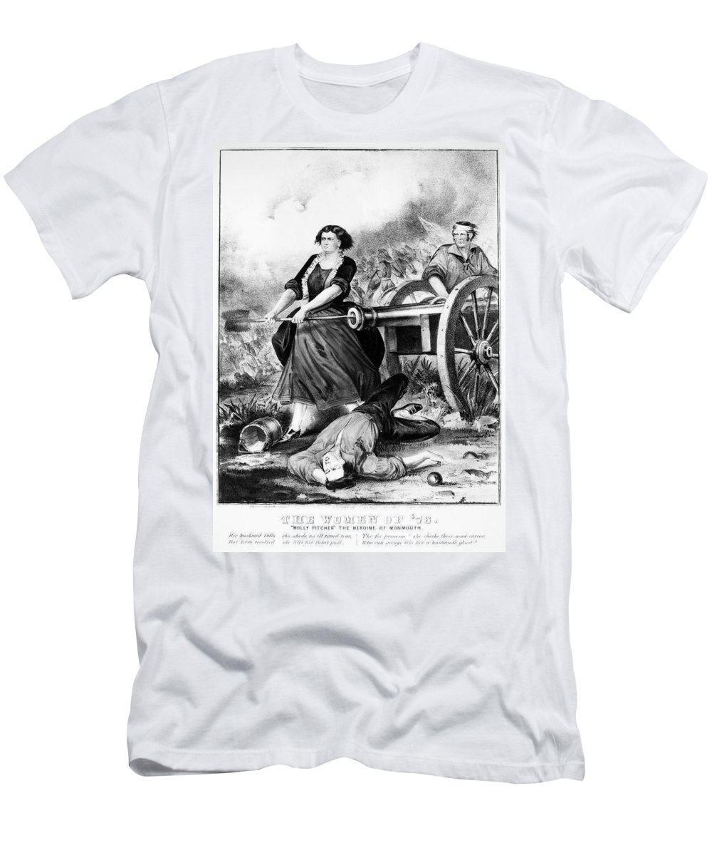 18th Century Men's T-Shirt (Athletic Fit) featuring the photograph Molly Pitcher (c1754-1832) by Granger