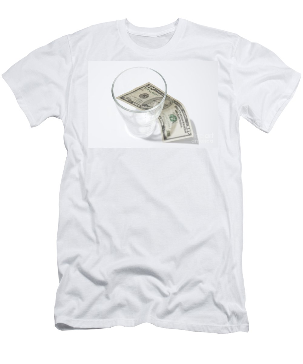 Money Men's T-Shirt (Athletic Fit) featuring the photograph Money And A Glass by Mats Silvan
