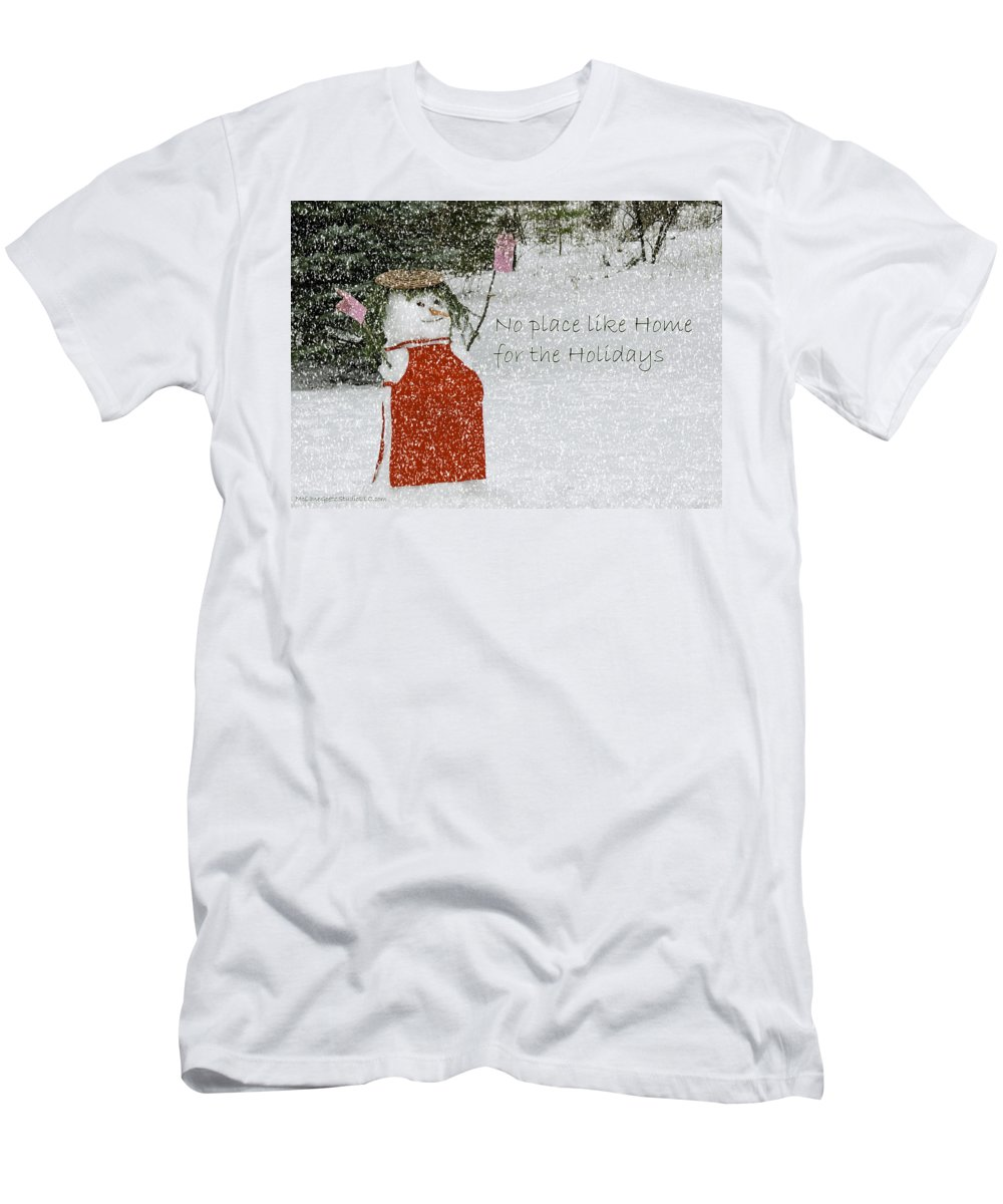 Snowman Men's T-Shirt (Athletic Fit) featuring the photograph No Place Like Home by LeeAnn McLaneGoetz McLaneGoetzStudioLLCcom