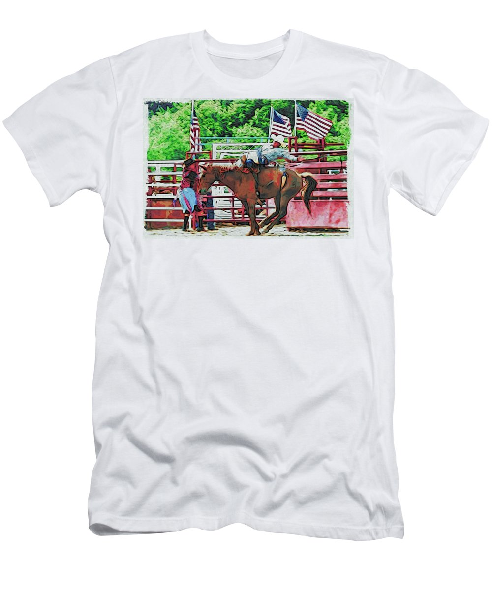 Horse Men's T-Shirt (Athletic Fit) featuring the photograph Out The Gate by Alice Gipson