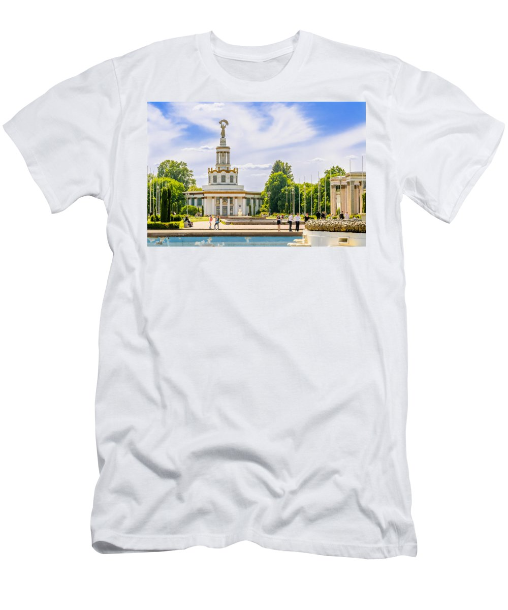 Kiev Men's T-Shirt (Athletic Fit) featuring the photograph Pavilion In Kiev's National Complex by Alain De Maximy