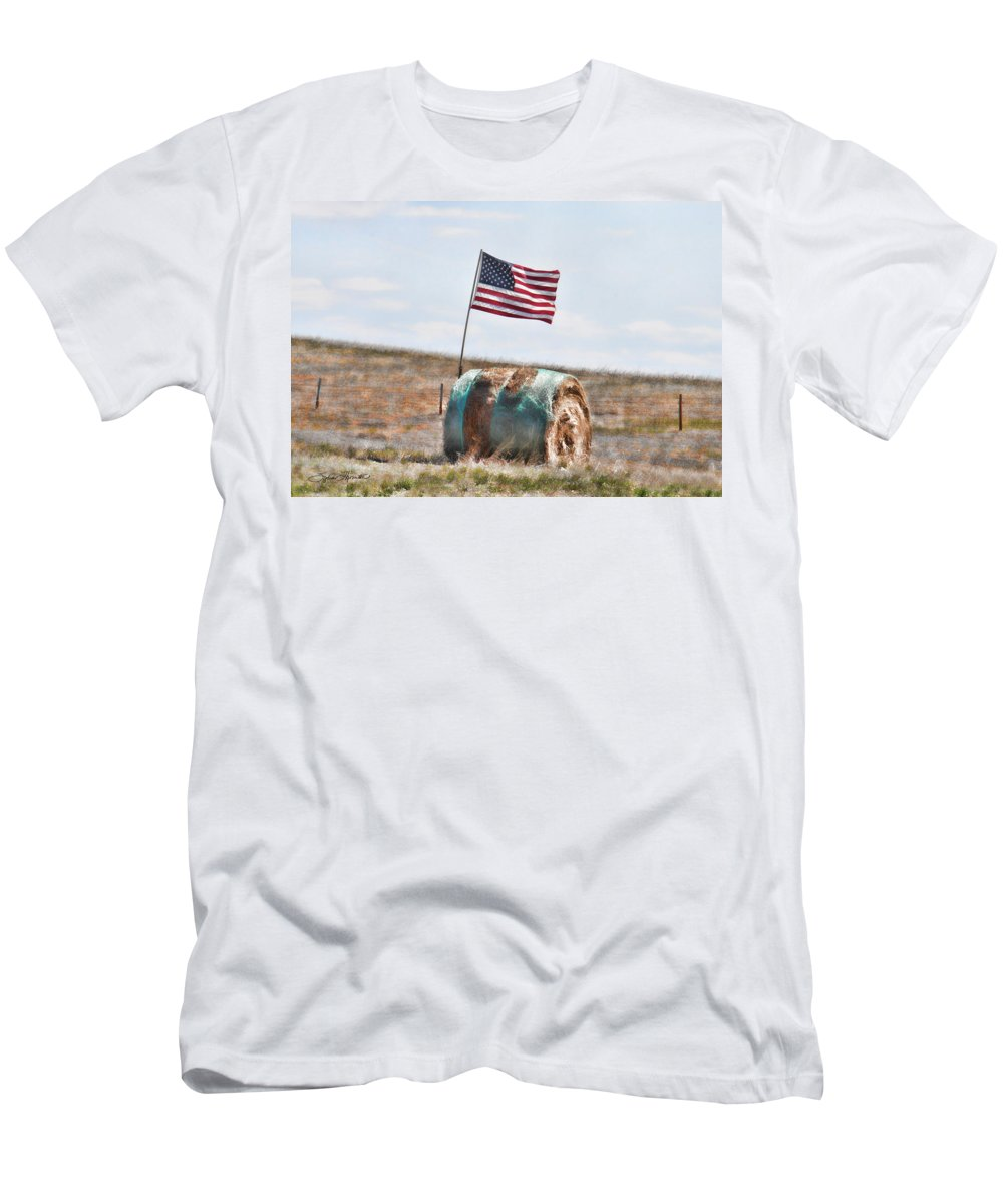 Hay Bale With Flag Men's T-Shirt (Athletic Fit) featuring the photograph Proud To Be An American by Sylvia Thornton