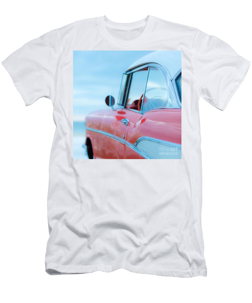 Florida Men's T-Shirt (Athletic Fit) featuring the photograph Red Chevy '57 Bel Air At The Beach Square by Edward Fielding