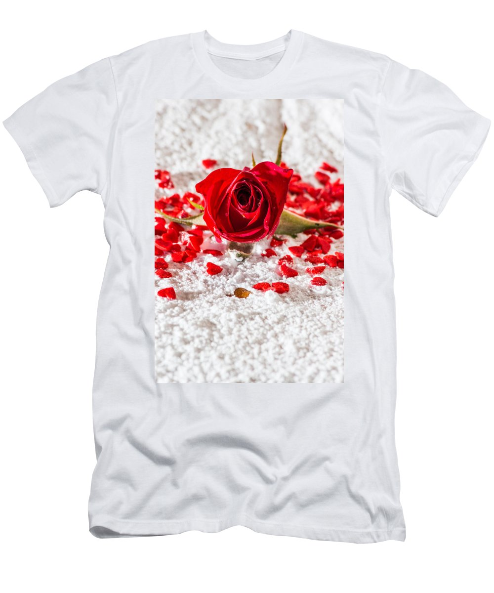 Red Men's T-Shirt (Athletic Fit) featuring the photograph Red Rose by Ernesto Santos