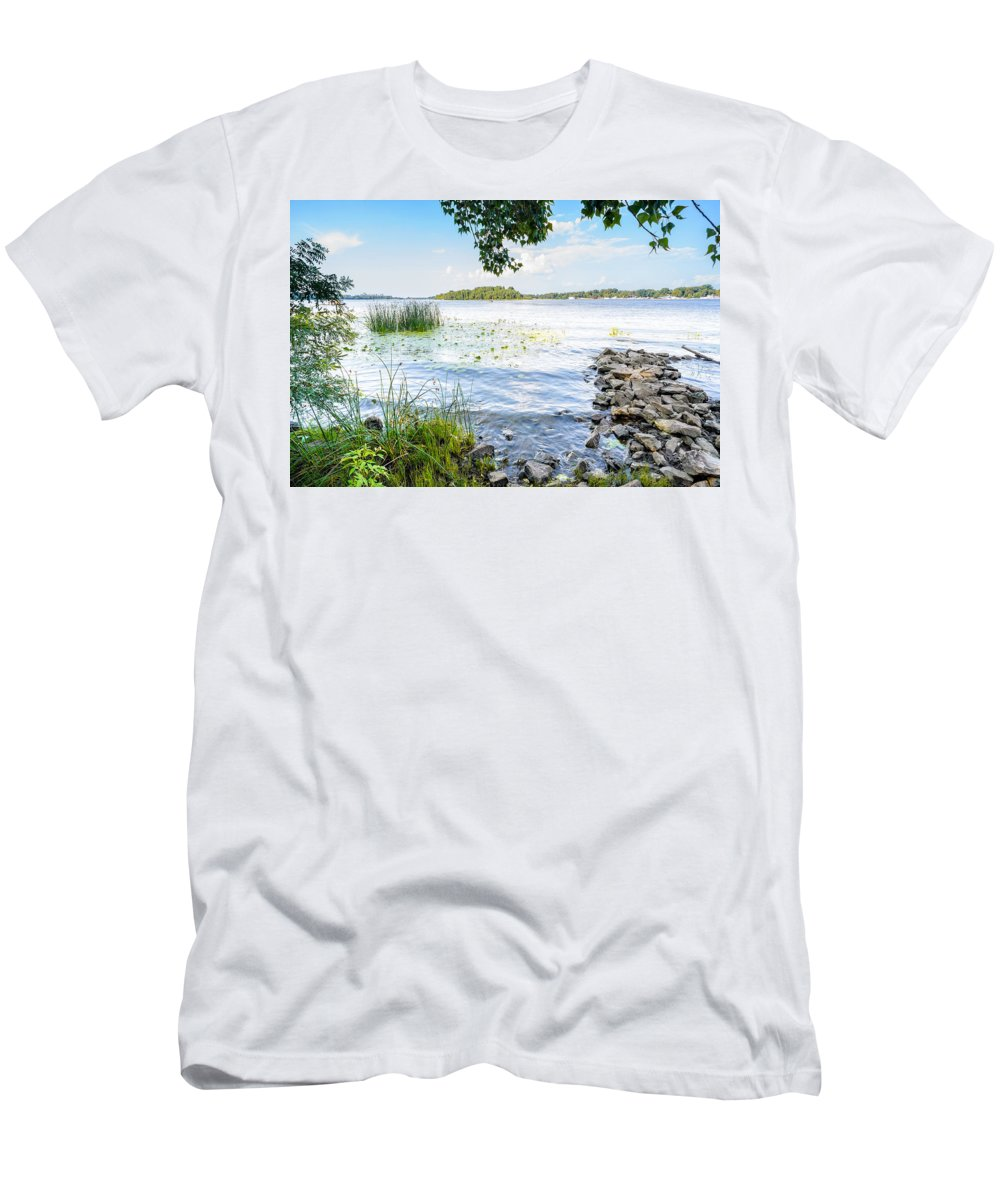 Dnieper Men's T-Shirt (Athletic Fit) featuring the photograph Reeds And Dnieper River by Alain De Maximy