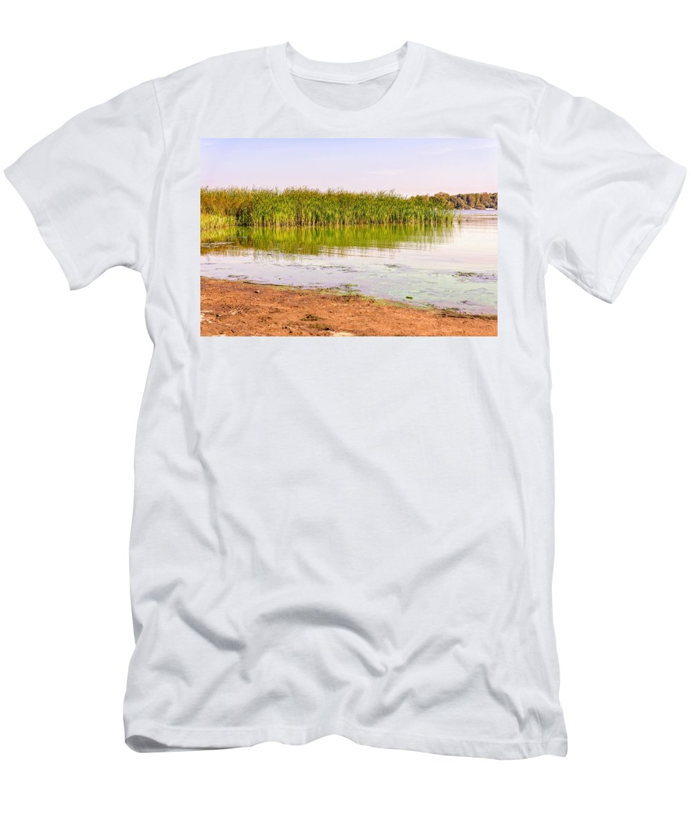 Dnieper Men's T-Shirt (Athletic Fit) featuring the photograph Reeds Close To The Shore by Alain De Maximy