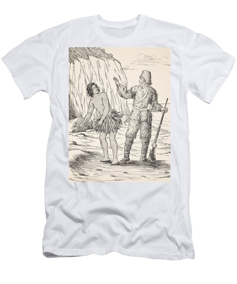 Robinson Crusoe Men's T-Shirt (Athletic Fit) featuring the drawing Robinson Crusoe And Friday by English School
