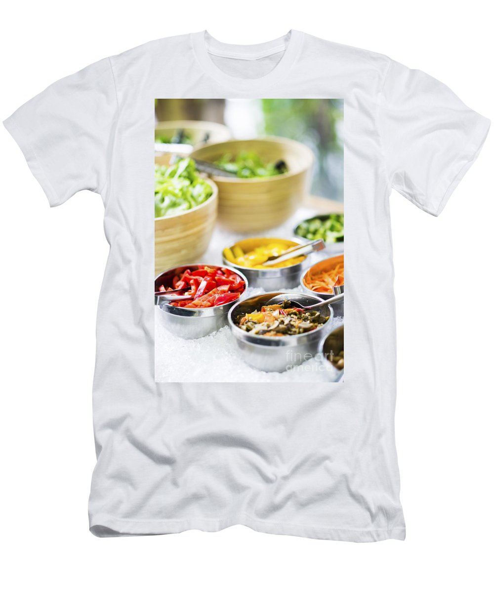Bowl Men's T-Shirt (Athletic Fit) featuring the photograph Salad Bowls With Mixed Fresh Vegetables by Jacek Malipan