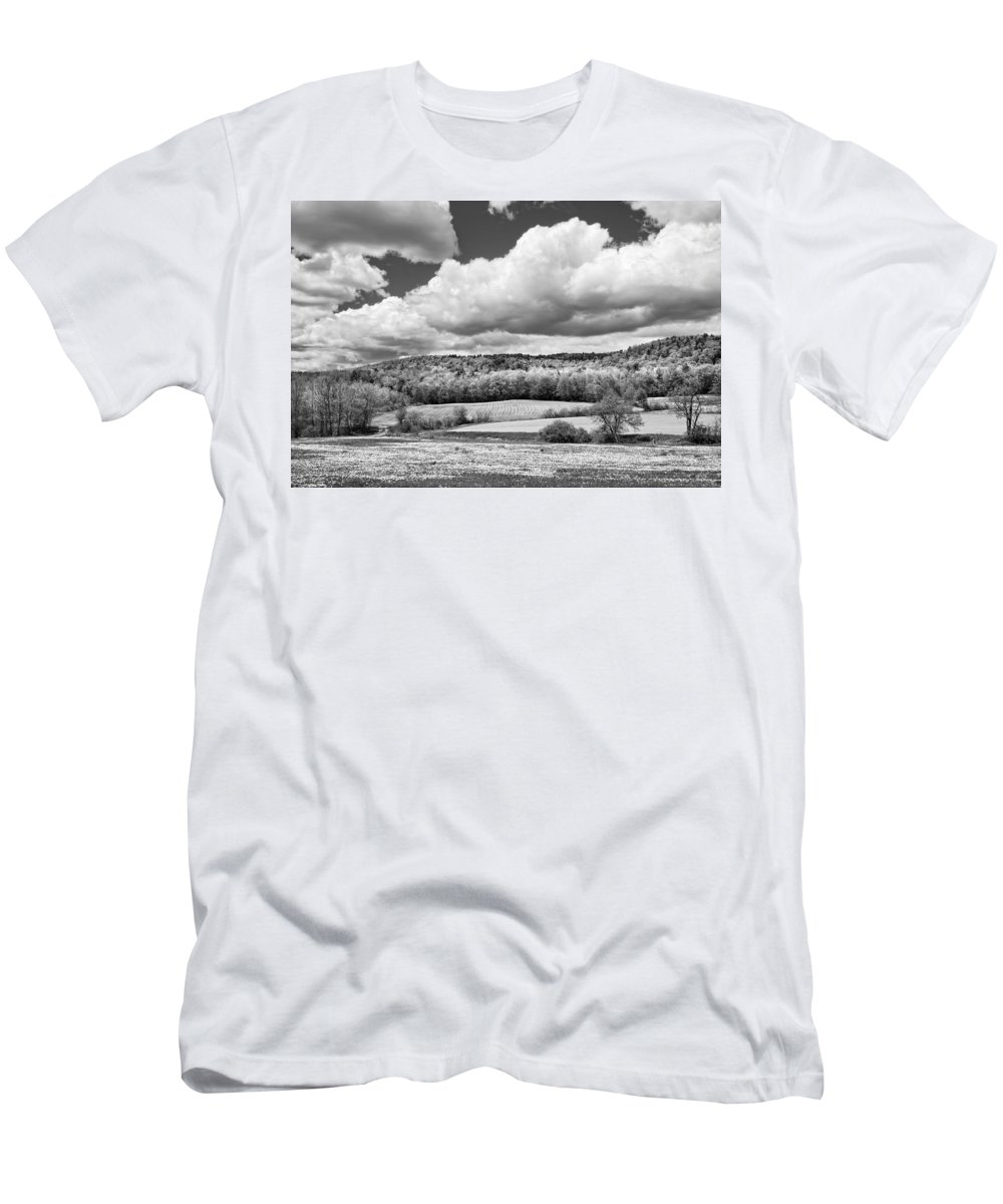 Spring Men's T-Shirt (Athletic Fit) featuring the photograph Spring Farm Landscape With Dandelions In Maine by Keith Webber Jr
