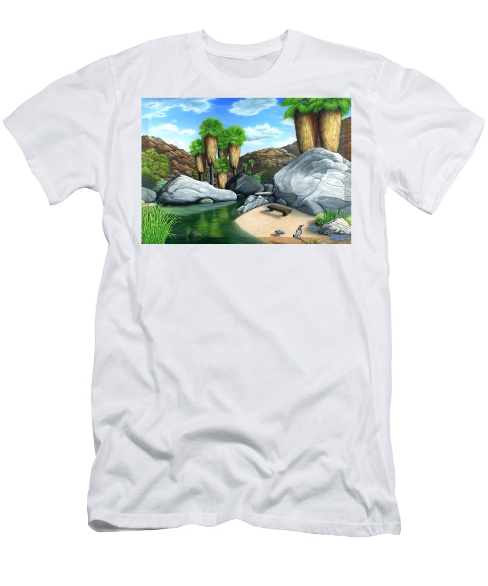 Desert Men's T-Shirt (Athletic Fit) featuring the painting Springtime In The Canyons by Snake Jagger