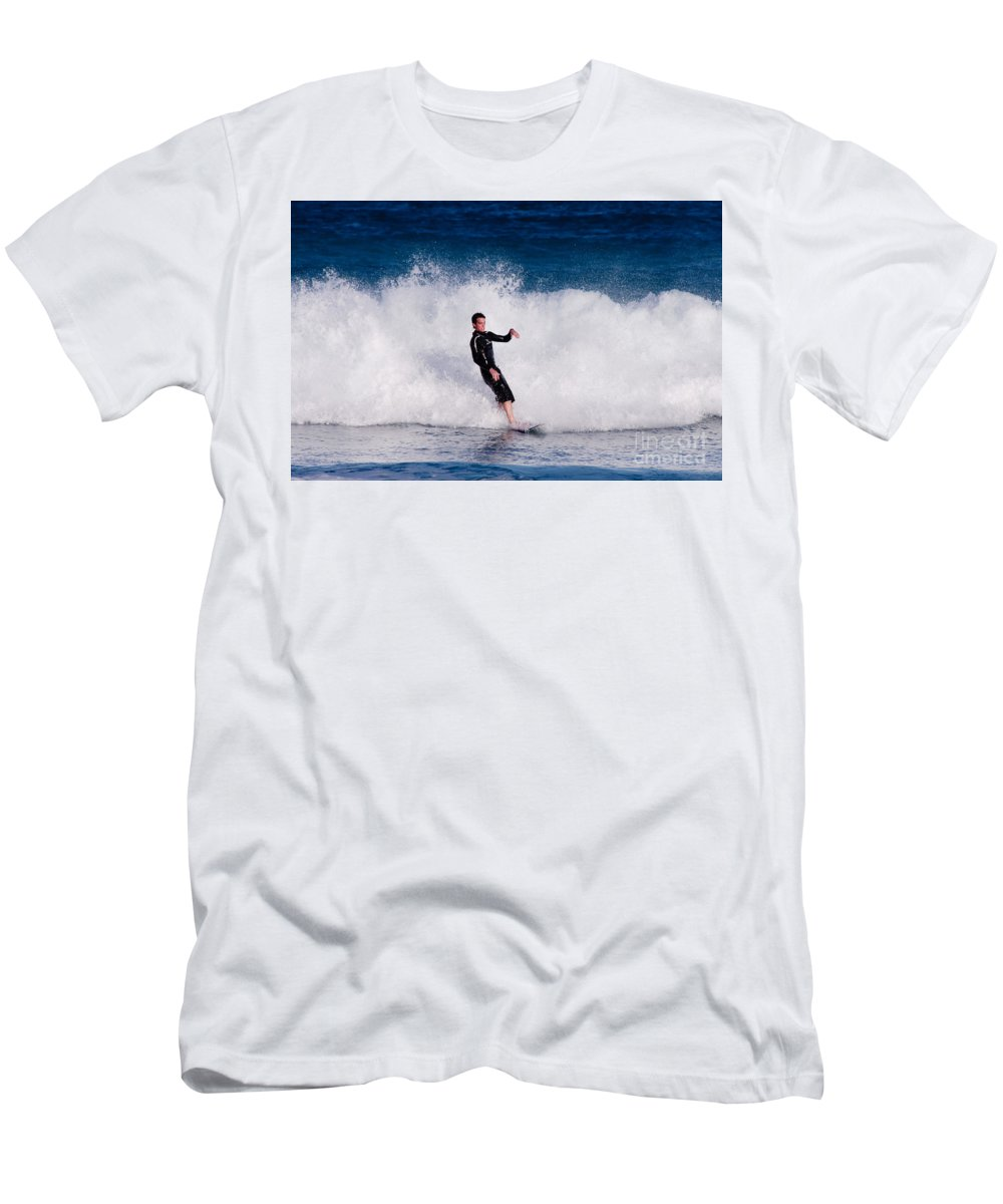 Florida Men's T-Shirt (Athletic Fit) featuring the photograph Surfer by Thomas Marchessault