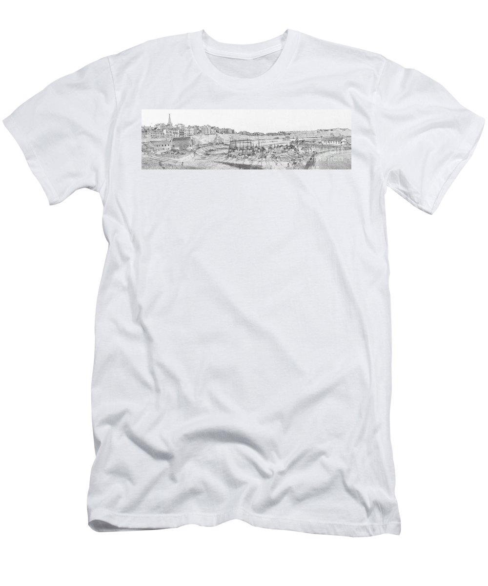 Tenby Men's T-Shirt (Athletic Fit) featuring the photograph Tenby Harbor Panorama by Steve Purnell