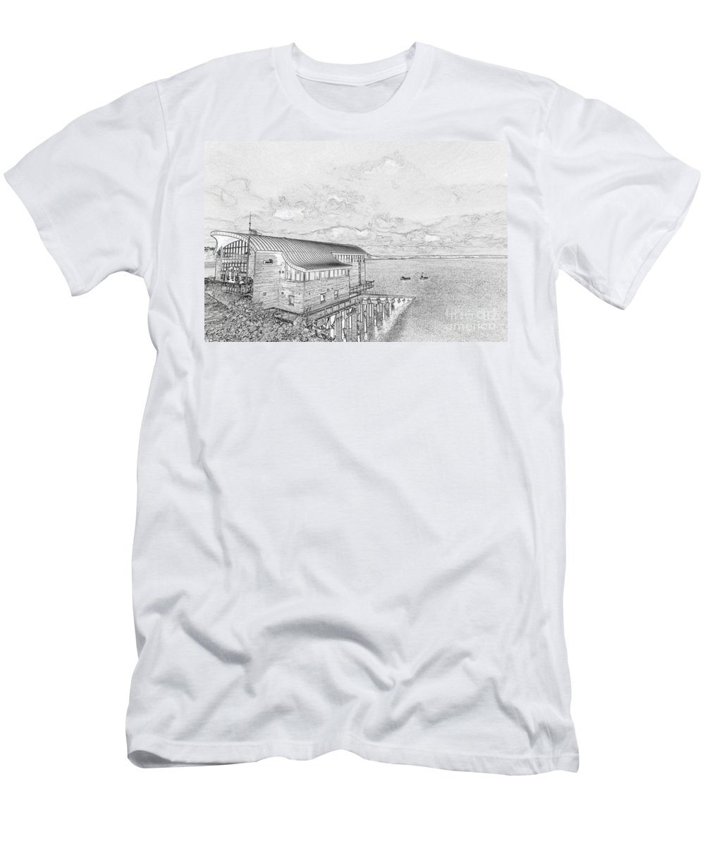 Tenby Men's T-Shirt (Athletic Fit) featuring the photograph Tenby Lifeboat Station by Steve Purnell
