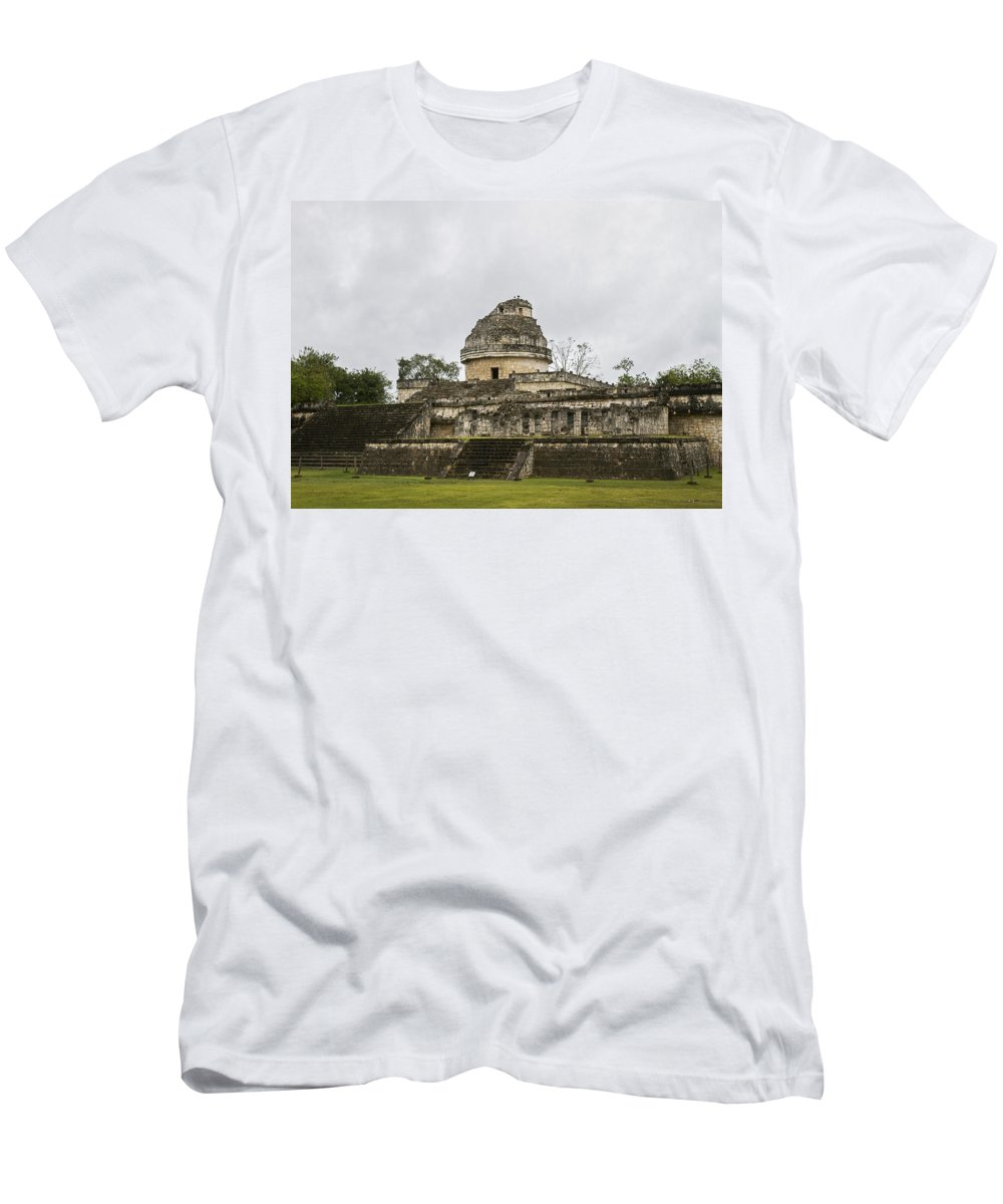 Chichen Itze Men's T-Shirt (Athletic Fit) featuring the photograph The Castillo In Chichen Itza by For Ninety One Days