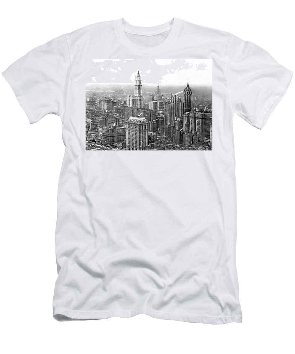 1910s Men's T-Shirt (Athletic Fit) featuring the photograph The Ny Financial District by Underwood Archives