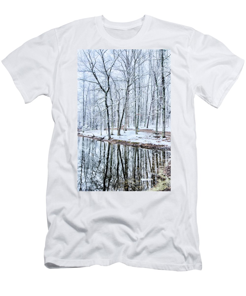 Tree Line Men's T-Shirt (Athletic Fit) featuring the photograph Tree Line Reflections In Lake During Winter Snow Storm by Alex Grichenko