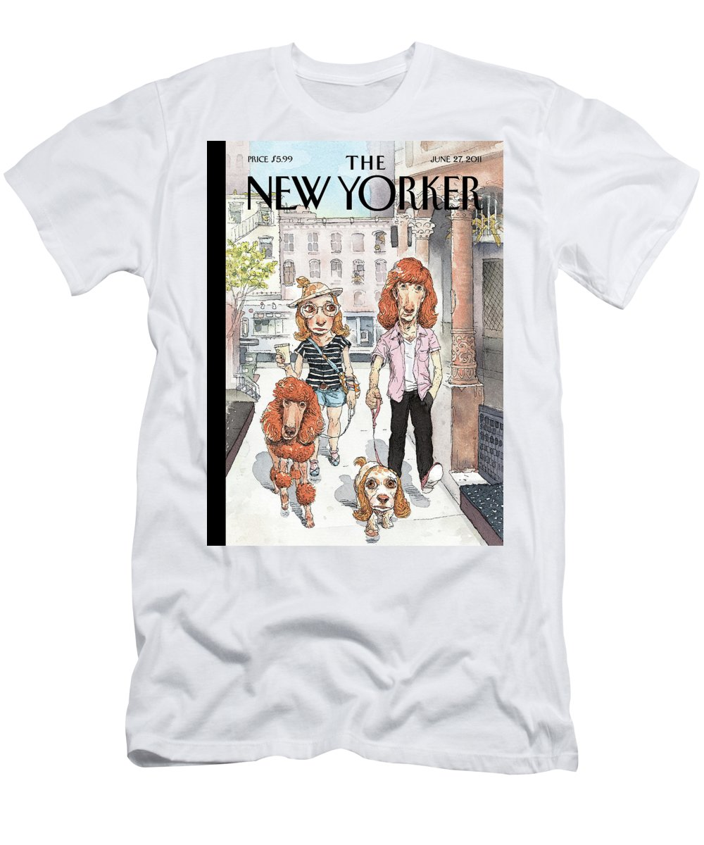 Pets Men's T-Shirt (Athletic Fit) featuring the painting New Yorker June 27th, 2011 by John Cuneo