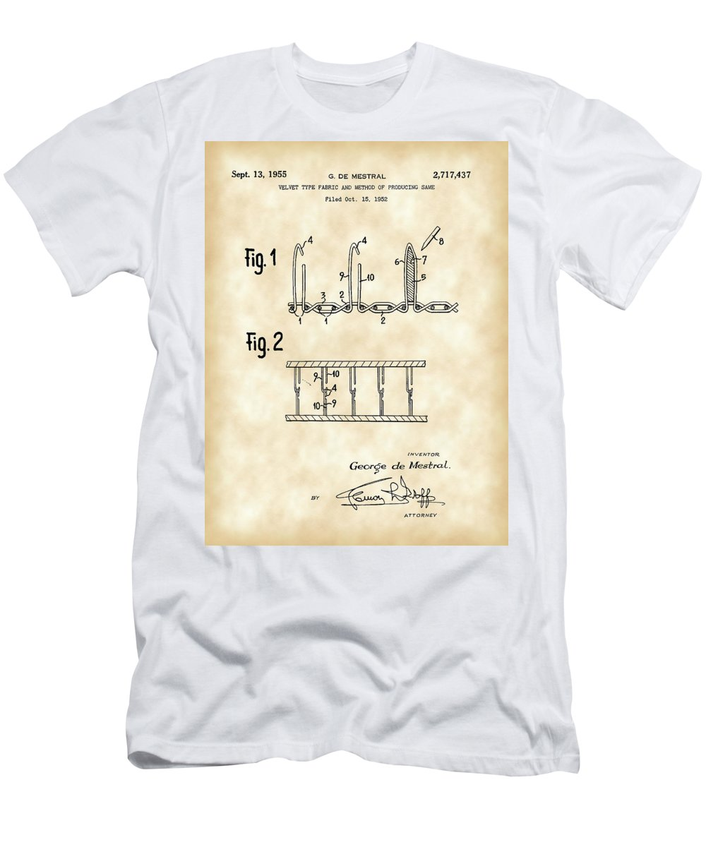 Velcro Men's T-Shirt (Athletic Fit) featuring the digital art Velcro Patent 1952 - Vintage by Stephen Younts